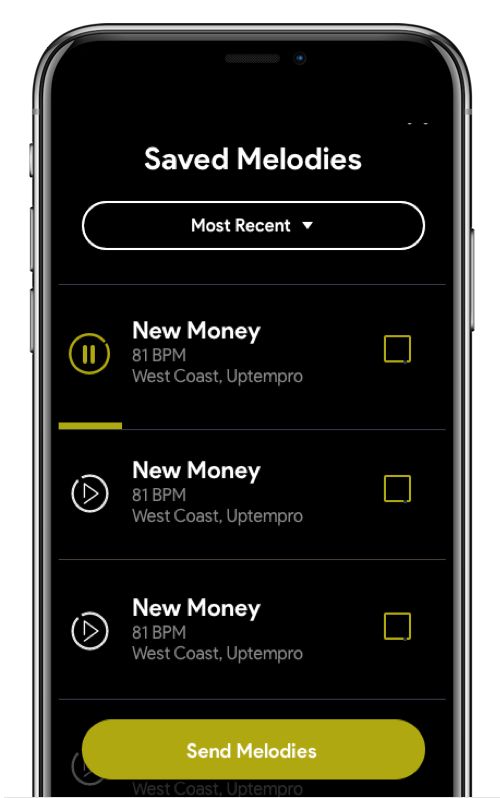 saved melodies screen
